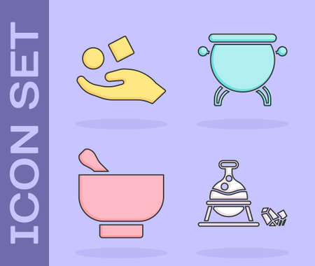 Set Witch cauldron and magic stone, Cube levitating above hand, Magic mortar and pestle and Witch cauldron icon. Vector