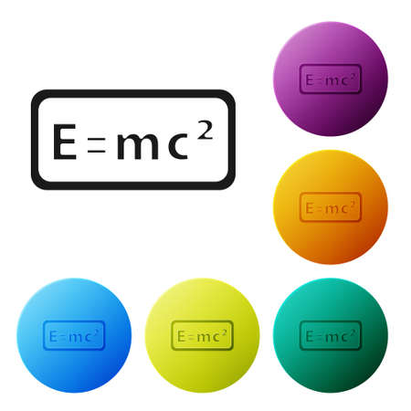 Black Math system of equation solution icon isolated on white background. E equals mc squared equation on computer screen. Set icons in color circle buttons. Vector