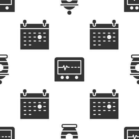 Set Funeral urn, Beat dead in monitor and Calendar death on seamless pattern. Vector