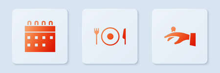 Set Plate, fork and knife, Calendar and Wedding rings on hand. White square button. Vector