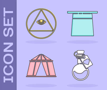 Set Bottle with love potion, Masons, Circus tent and Magician hat icon. Vector