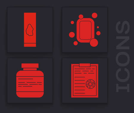 Set Clipboard with blood test results, Blood test and virus, Bar of soap and Medicine bottle and pills icon. Vector