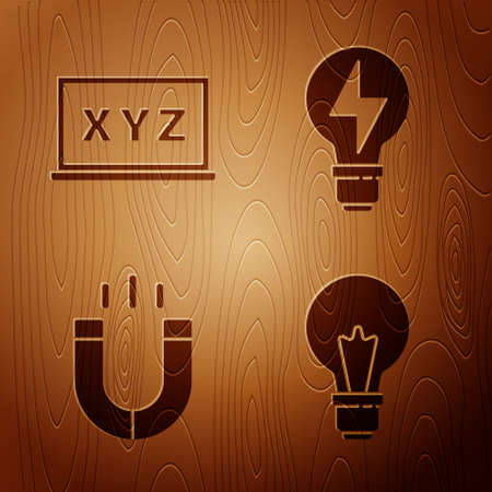 Set Light bulb with concept of idea, XYZ Coordinate system, Magnet and Light bulb with lightning on wooden background. Vector 向量圖像