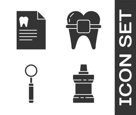 Set Mouthwash plastic bottle, Clipboard with dental card, Dental inspection mirror and Teeth with braces icon. Vector