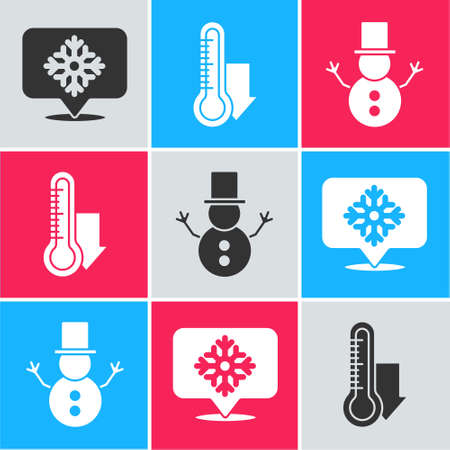 Set Snowflake with speech bubble, Meteorology thermometer measuring and Christmas snowman icon. Vector