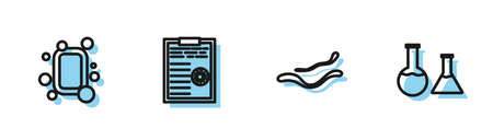 Set line Ebola virus disease, Bar of soap, Clipboard with blood test results and Test tube and flask icon. Vector