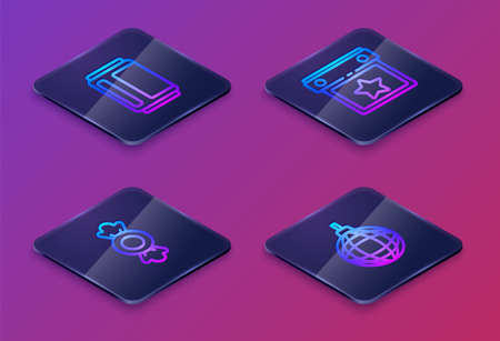 Set Isometric line Beer can, Candy, Calendar party and Disco ball. Blue square button. Vector