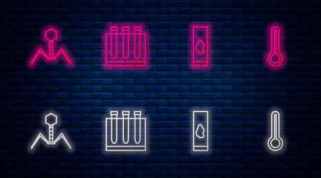 Set line Blood test and virus, , Bacteria bacteriophage and Medical thermometer. Glowing neon icon on brick wall. Vector Иллюстрация
