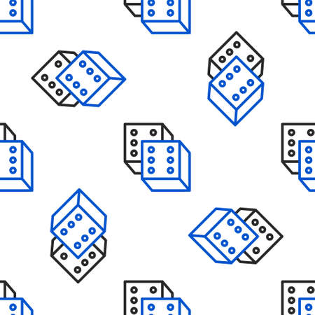 Line Game dice icon isolated seamless pattern on white background. Casino gambling. Colorful outline concept. Vector
