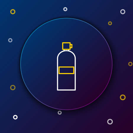 Line Aqualung icon isolated on blue background. Oxygen tank for diver. Diving equipment. Extreme sport. Diving underwater equipment. Colorful outline concept. Vector Vectores