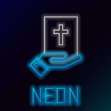 Glowing neon line Oath on the Holy Bible icon isolated on black background. The procedure in court. Truth and truth. Promise before god. Colorful outline concept. Vector Vettoriali