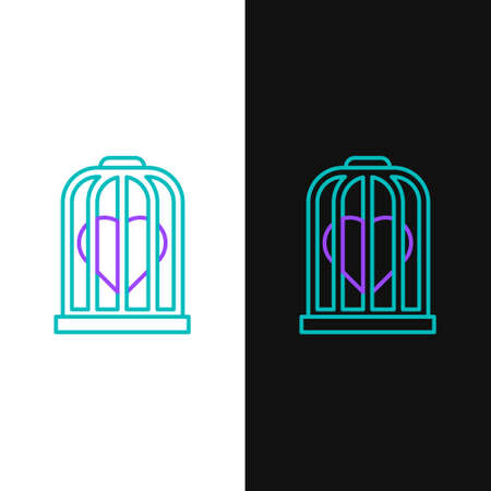 Line Heart in the bird cage icon isolated on white and black background. Love sign. Valentines symbol. Colorful outline concept. Vector 矢量图像
