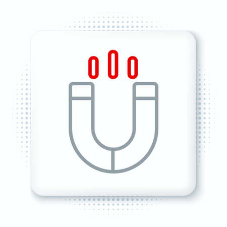 Line Magnet icon isolated on white background. Horseshoe magnet, magnetism, magnetize, attraction. Colorful outline concept. Vector Иллюстрация