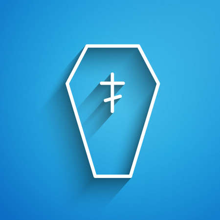 White line Coffin with christian cross icon isolated on blue background. Happy Halloween party. Long shadow. Vector