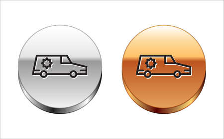 Black line Hearse car icon isolated on white background. Silver-gold circle button. Vector