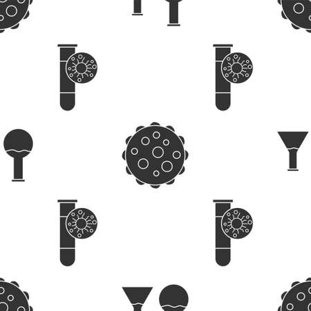 Set Test tube and flask, Virus and Test tube with virus on seamless pattern. Vector Иллюстрация