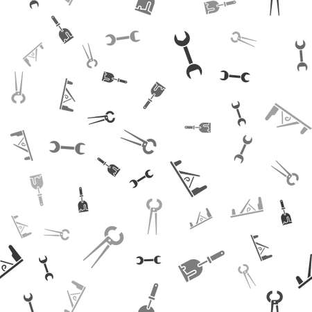 Set Wrench spanner, Putty knife, Wood plane tool and Pincers and pliers on seamless pattern. Vector