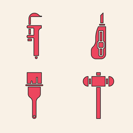 Set Sledgehammer, Calliper or caliper and scale, Stationery knife and Paint brush icon. Vector Illustration