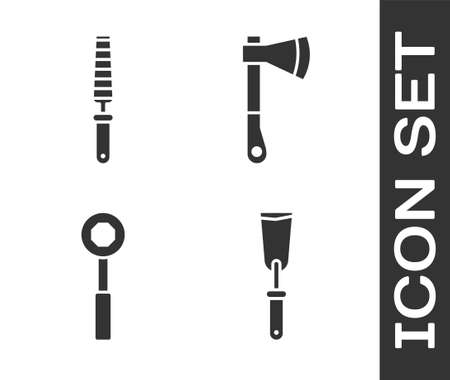 Set Putty knife, Chisel tool for wood, Wrench spanner and Wooden axe icon. Vector