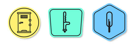 Set line Prison cell door, Police rubber baton and Feather pen. Colored shapes. Vector 向量圖像