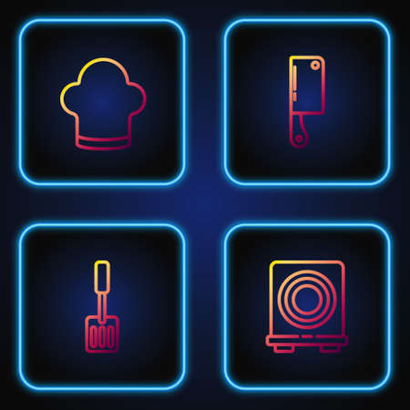 Set line Electric stove, Spatula, Chef hat and Meat chopper. Gradient color icons. Vector Vettoriali