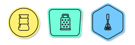 Set line Coffee turk, Grater and Spatula. Colored shapes. Vector Vettoriali