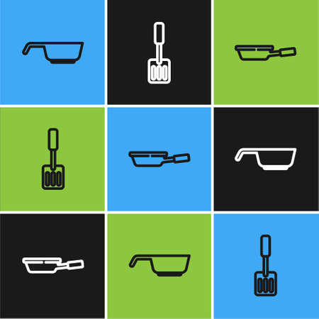 Set line Frying pan, and Spatula icon. Vector