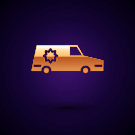 Gold Hearse car icon isolated on black background. Vector