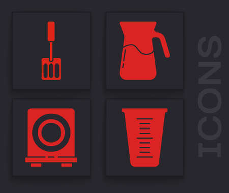 Set Measuring cup, Spatula, Jug glass with water and Electric stove icon. Vector
