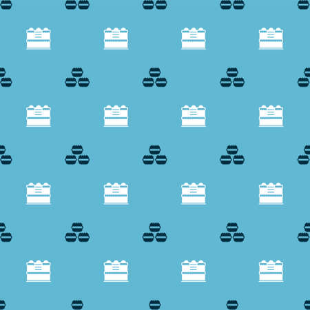 Set Macaron cookie and Cake on seamless pattern. Vector