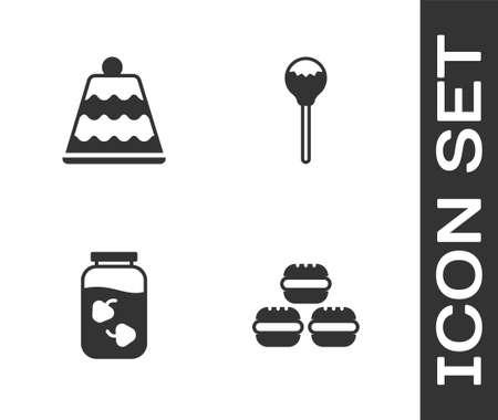 Set Macaron cookie, Cake, Strawberry jam jar and Lollipop icon. Vector 矢量图像