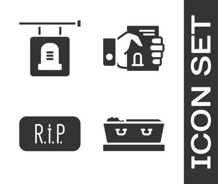 Set Coffin with dead, Signboard tombstone, Speech bubble rip death and Death certificate in hand icon. Vector