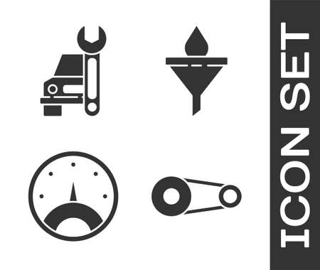 Set Timing belt kit, Car service, Speedometer and Funnel or filter and motor oil drop icon. Vector