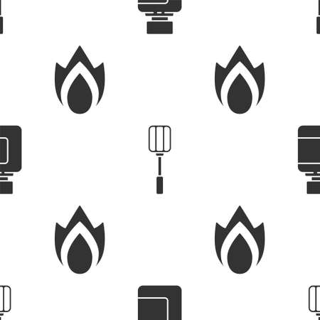 Set Sauce bottle, Spatula and Fire flame on seamless pattern. Vector