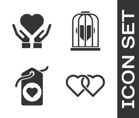 Set Two Linked Hearts, Heart on hand, Heart tag and Heart in the bird cage icon. Vector