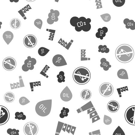 Set CO2 emissions in cloud, Oil industrial factory building, No Smoking and Oil drop on seamless pattern. Vector