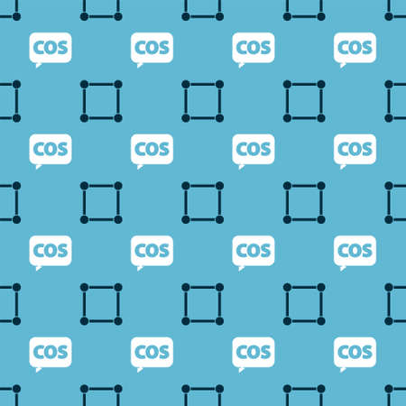 Set Geometric figure Square and Mathematics function cosine on seamless pattern. Vector