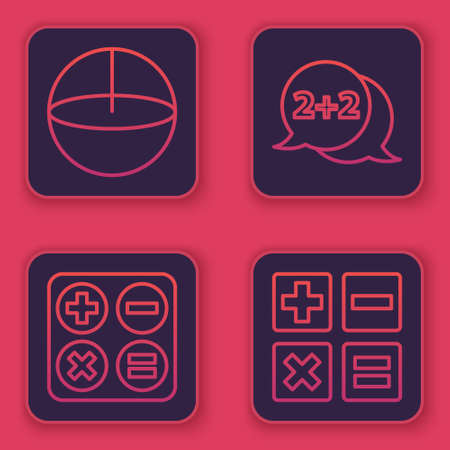 Set line Calculator, Square root, Geometric figure Cone and Feather and inkwell. Blue square button. Vector 版權商用圖片 - 155592085
