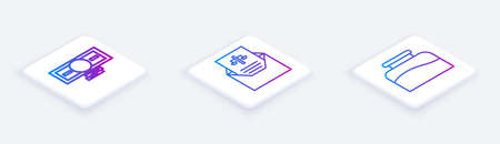 Set Isometric line Stacks paper money cash, Subpoena and Inkwell. White square button. Vector 向量圖像
