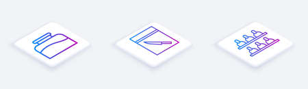 Set Isometric line Inkwell, Evidence bag and knife and Jurors. White square button. Vector