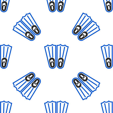 Line Rubber flippers for swimming icon isolated seamless pattern on white background. Diving equipment. Extreme sport. Sport equipment. Colorful outline concept. Vector