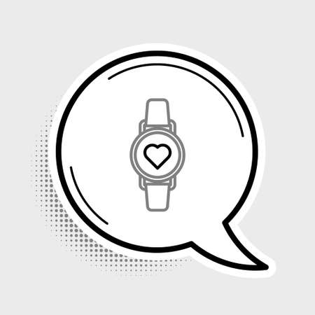 Line Smart watch showing heart beat rate icon isolated on grey background. Fitness App concept. Colorful outline concept. Vector