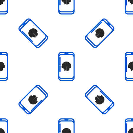 Line Smartphone with fingerprint scanner icon isolated seamless pattern on white background. Concept of security, personal access via finger on mobile phone. Colorful outline concept. Vector Illusztráció
