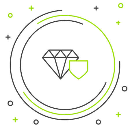 Line Diamond with shield icon isolated on white background. Jewelry insurance concept. Security, safety, protection, protect concept. Colorful outline concept. Vector