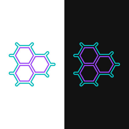 Line Chemical formula consisting of benzene rings icon isolated on white and black background. Colorful outline concept. Vector 矢量图片