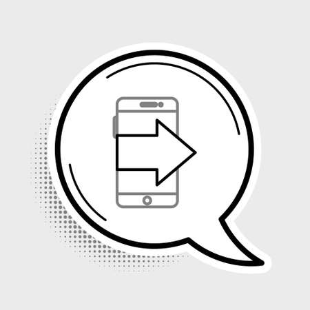 Line Smartphone, mobile phone icon isolated on grey background. Colorful outline concept. Vector Illusztráció