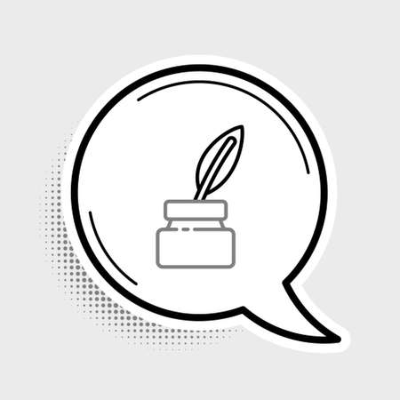 Line Feather and inkwell icon isolated on grey background. Colorful outline concept. Vector