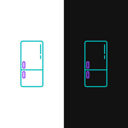 Line Refrigerator icon isolated on white and black background. Fridge freezer refrigerator. Household tech and appliances. Colorful outline concept. Vector Ilustração
