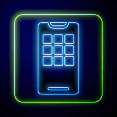 Glowing neon Smartphone, mobile phone icon isolated on blue background. Vector Illustration