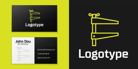 Logotype line Clamp tool icon isolated on black background. Locksmith tool.